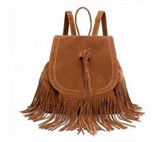 Semišový dámsky ruksak so strapcami vo farbách. Funkčný, objemný ruksak vhodný do školy a na každý deň. (6)
