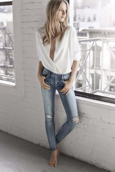sexy button down shirt with jeans