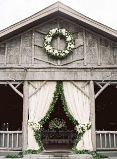 Captured by Clark Brewer and Life Stage Films, and planned by Calder Clark, this Rustic Elegant Wedding at Camp Yonahnoka features an Amsale wedding dress. Wedding Entrance, Barn Wedding Venue, Farm Wedding, Dream Wedding, Wedding Day, Luxury Wedding, Wedding Reception, Wedding Flowers, Farmhouse Wedding Venue