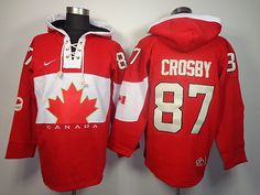 2014 Sochi Winter Olympic Team Canada 87 Sidney CROSBY Lace-Up Jersey Hooded Sweatshirt