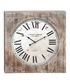 Look at this Distressed Splatter Square Wood Wall Clock on #zulily today!