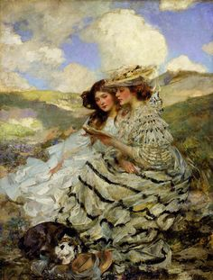 On the Dunes;Lady Shannon and Kitty (1900-1910) by Sir James Jebusa Shannon (1862-1923).