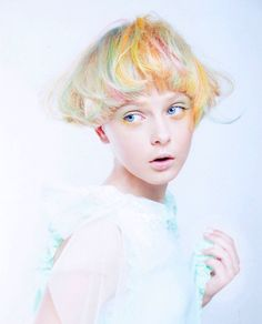 Whimsical model by Tadashi Harada for Shiseido, Japan. #HotOnBeauty #RainBowHair #ShortHair