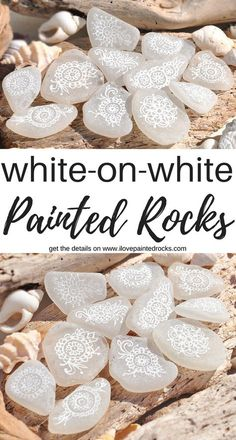This is such a great idea for DIY painted rocks! The inspirational post gives easy ideas for how to duplicate this look of white rocks with white paint similar to henna or lace inspired designs. Crafts White-on-White Painted Rocks Stone Crafts, Rock Crafts, Diy Crafts To Sell, Diy Crafts For Kids, Crafts With Rocks, Beach Rocks Crafts, Craft Ideas, Homemade Crafts, Pebble Painting