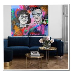 Family photo and art combined together. The customer choose their favorite colors and I paint them with these colors in a streetart style. Get yours unique artwork! Family Photos, Favorite Color, Portrait, Friends, Colors, Unique, Artwork, Painting, Style