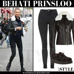 Behati Prinsloo in black white fur collar biker jacket with skinny jeans