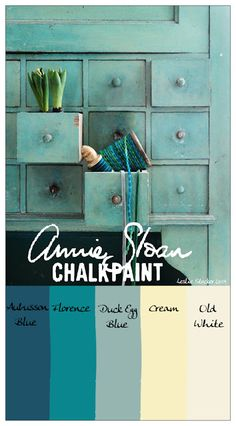 COLORWAYS   Annie Sloan Chalk Paint can be layered and blended for a soft green with hints of blue.