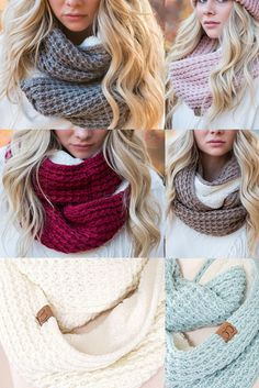 C.C. Chunky Knit Sherpa Infinity Scarves