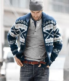 Henley over a crew neck tee, jeans, and zip sweater.