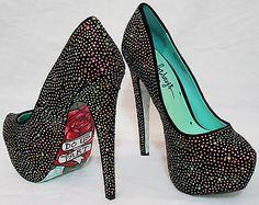 Taylor Says TIL DEATH DO US PART Womens 8.5 Black Embellished Platform High Heel