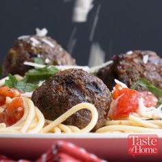 Summertime Spaghetti with Grilled Meatballs Recipe