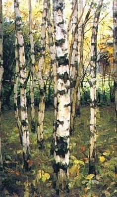 Bouleaux. Petrovskoye, huile sur toile de Konstantin Yuon (1875-1958, Russia)