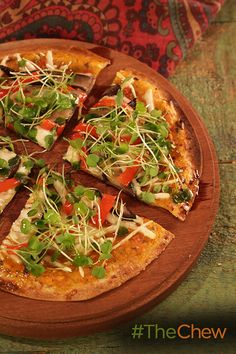 A delicious Portobello, Roasted Peppers & Microgreens Pizza is perfect for dinner tonight!