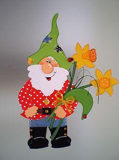 Fensterbild Gartenzwerg mit Blumen Frühling -Küche-Dekoration - Tonkarton!