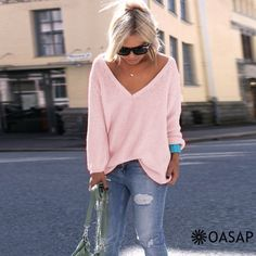 V Neck Loose Fit Sweater m.OASAP.com
