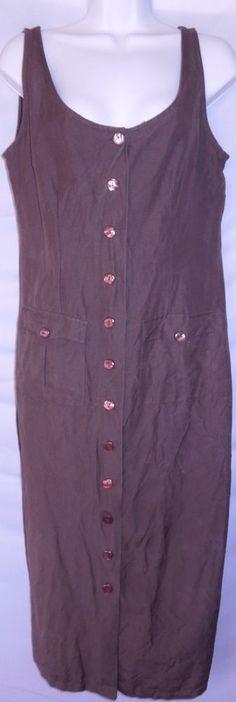 ZOEY BETH Sz 9/10 (L) Sleeveless Dress Chocolate Brown Button Front Pockets Long    #ZoeyBeth #Fashion #SleevelessDress #Dressl