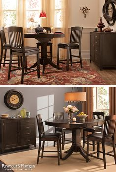 We can't get enough of this new dining set! The Everdeen Collection is a modern take on the classic pedestal table. And you can choose between a standard set or the counter-height one that's in these photos!