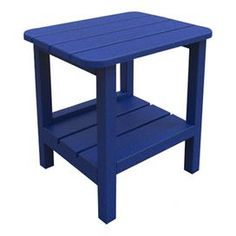 """Eco-friendly indoor/outdoor end table in blue. Made in the USA.   Product: End tableConstruction Material:  Recycled high density polyethylene and stainless steelColor: BlueFeatures:  Color stable UV inhibitorVirtually maintenance freeMade in the USA Dimensions: 18.5"""" H x 19"""" W x 15"""" DCleaning and Care: This product is UV protected and requires very little maintenance. To clean, use soap and warm water regularly."""