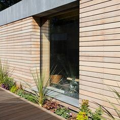 Silva Select Prestige VG Western Red Cedar Rainscreen (open jointed) Cladding is heartwood, vertical grain, virtually knot-free, Canadian Western Red Cedar. Cedar Cladding House, Wooden Cladding Exterior, Western Red Cedar Cladding, Wood Facade, Cedar Siding, House Siding, Timber House, Exterior Siding, Rainscreen Cladding