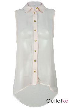 Nowa elegancka koszula w odcieniu pudrowego różu. Koszula zapinana na guziki w kolorze złotym. Bluzka posiada modny, luźny krój. Materiał typu mgiełka, zwiewny, dopasowujący się do sylwetki. Z przodu jest krótsza, z tyłu dłuższa - asymetryczna. Hit w Wielkiej Brytanii!!!
