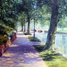 RIVERSIDE WALK acrylic on canvas 40 x 40 inches  Terry Harrison
