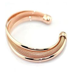 Italian design mesh Cuff bracelet in Rose Gold by Evabella Collections on Opensky