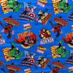 Marvel Comics Thor, Iron Man, Spider-man, The Hulk, Captain America & Wolverine 100% Cotton
