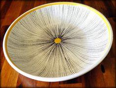 "VERY RARE Stig Lindberg Midcentury 10"" x 1-3/4"" Faience Centerpiece Bowl--Designed for Gustavsberg (Sweden)--Signed--"