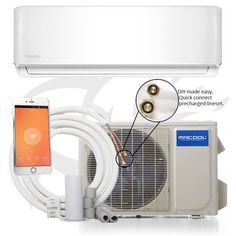 Mrcool Do It Yourself BTU 16 Seer Ductless Mini-Split Air Conditioner and Heat Pump - w/Wifi - White (White) Ductless Heat Pump, Heat Pump System, Composting Toilet, Fireplace Accessories, Do It Yourself Home, Heating And Cooling, Mini, Gallery, Remote