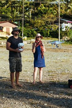 Jasyn & Anna flying the drone in Limon over the old port