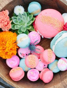 Pretty painted macarons