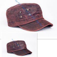 Vintage Imitación de Cuero para Hombre Ajustable Sombrero de del ejército  liso Cadete Militar Gorra de béisbol 9f0ce1d59e0