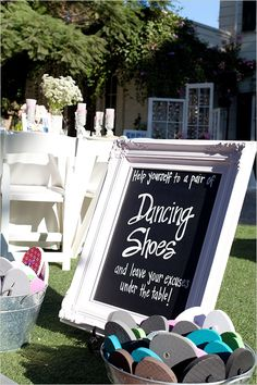 Flip Flop Dancing Shoes! Love the sign for a wedding!