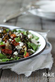 Kokit ja Potit -ruokablogi: Linssi-munakoisosalaatti fetajuustolla