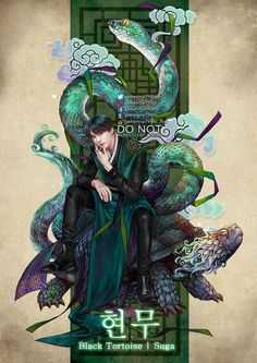 """"""" Hyeonmu (현무) The Black Tortoise /玄武/Huyền Vũ It is usually depicted as a turtle entwined together with a snake, known as """"Dark Warrior"""" It represents the north & winter season, were thought to be spiritual creatures symbolizing longevity. Bts Art, Bts Anime, Dark Warrior, Kpop Drawings, Bts Chibi, Kpop Fanart, Bts Lockscreen, Bts Pictures, Photos"""