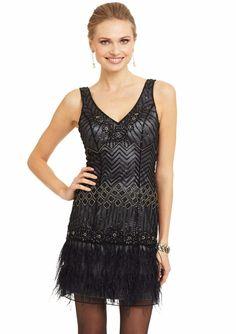 Sz 12 * SUE WONG 1920's Feather Flapper Dress Beaded GATSBY Black Charcoal Gray  | eBay