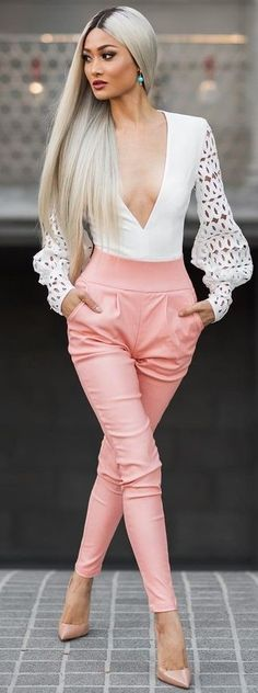 #Street #Fashion | White Bodysuit + Pink Leather Pants + Nude Heels | Micah Gianneli