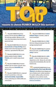 Check out the Top 10 Reasons To Purchase Rubber Mulch This Summer!!