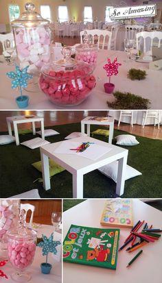 Décoration de mariage - Vivonne, Poitiers - Décor de mariage - Location chaise Napoléon blanche, Location herbe artificielle - Mini bar à bonbons rose - Idées centre de table enfants - Coin enfants mariage