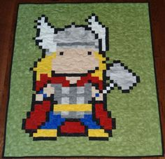 Cuddle Up With This 16-Bit Thor Quilt. It's be cool to do lots of different characters. :)