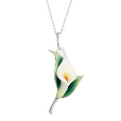 Porcelain Calla Lily Flower Necklace, at Wildlife Wonders