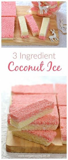 Easy Coconut Ice recipe - Just 3 ingredients to make this delicious treat - homemade gift idea from Eats Amazing UK (baking recipes 3 ingredients) Candy Recipes, Sweet Recipes, Baking Recipes, Dessert Recipes, Cake Recipes Uk, Cheap Recipes, Dinner Recipes, Xmas Food, Christmas Cooking
