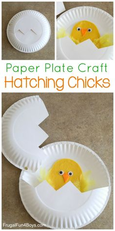 Spring Paper Plate Craft for Kids - Hatching Chicks! #preschool #spring #craftsforkids #kidsactivities