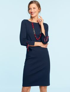cf9b951f931 Keep your look effortless and classic in the Three-Quarter-Sleeve Interlock  Dress.