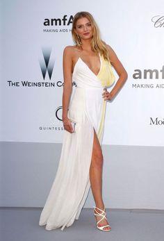 V-neck Sheath High Split Chiffon Celebrity Dress 2013