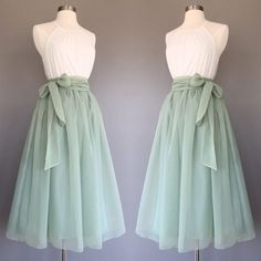 yyAyydyy Sage green chiffon skirt tea length Bridesmaid skirt floor length knee length green chiffon skirt SASH is additional charge shopVmarie 5 out of 5 stars Mode Outfits, Skirt Outfits, Dress Skirt, Dress Up, Midi Skirt, Stylish Outfits, Pretty Outfits, Pretty Dresses, Beautiful Dresses