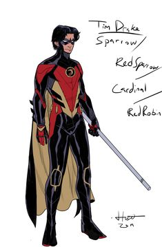 Kal Huset — Did this Tim Drake design after seeing that new. Tim Drake Red Robin, Robin Dc, Batman Robin, Batman Arkham, Tim Drake Batman, Superhero Characters, Dc Comics Characters, Super Hero Outfits, Super Hero Costumes