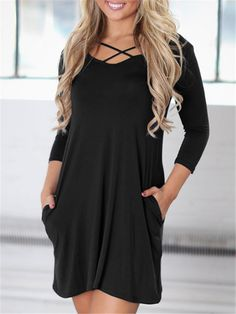 Trendy Cross Strappy Pocket Casual Tunic Dress