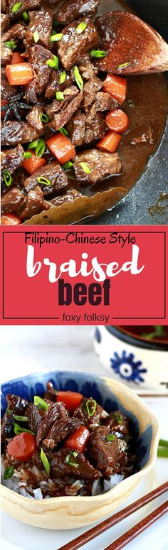 Simple braised beef recipe for savory-sweet tender chunks of beef that is rich of flavor and spices. Inspired by Chowking's braised beef rice topping.   www.foxyfolksy.com