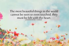 """""""The most beautiful things in the world cannot be seen or even touched, they must be felt with the heart. Love Words, Beautiful Words, Most Beautiful, Beautiful Things, Wonderful Life Quotes, Inspirational Words Of Wisdom, Wise People, World Quotes, Makeup For Blondes"""
